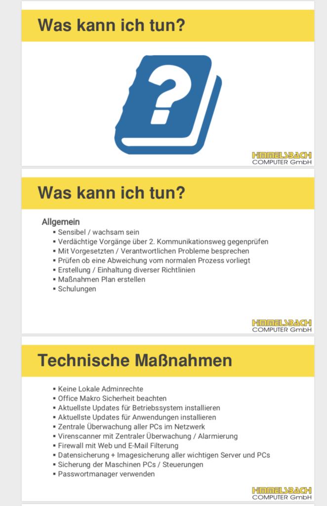 IT-Sicherheit Schulung Himmelsbach Computer - Folie was kann ich tun