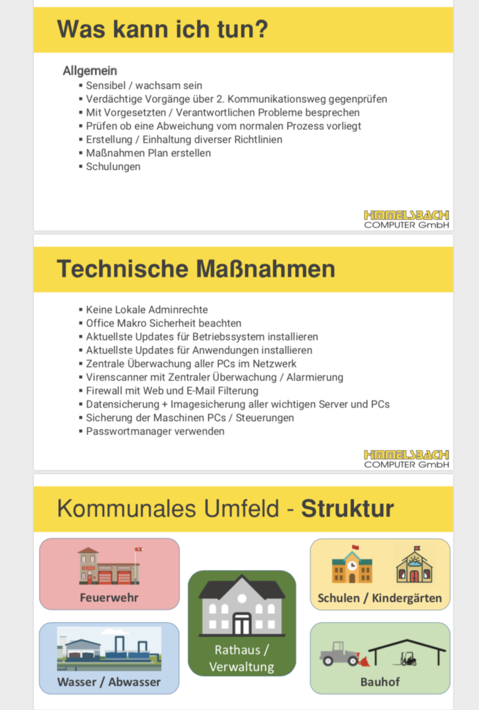 IT-Sicherheit Schulung Himmelsbach Computer - Folie Technische Maßnahmen