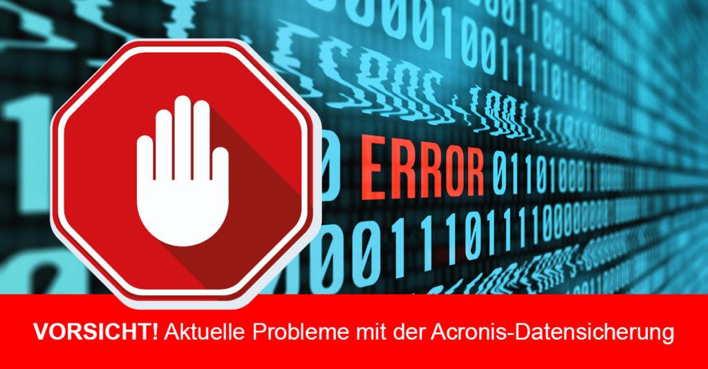 Acronis Backup-Software speichert keine Einstellungen mehr